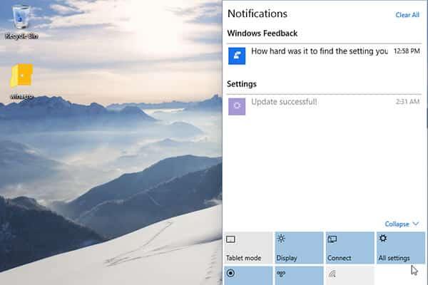 Notification Windows 10 home