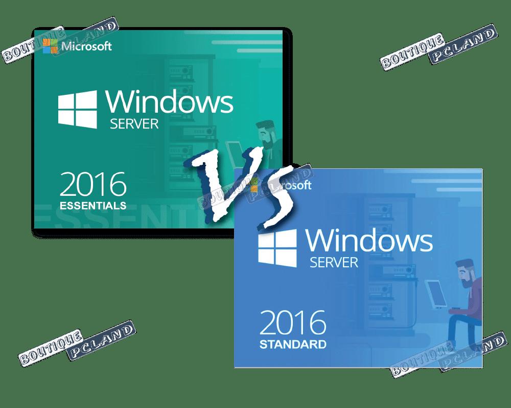 Comparaisons de Windows server 2016 Essentials vs standard