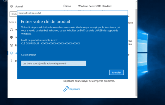 clé Windows server 2016 activation