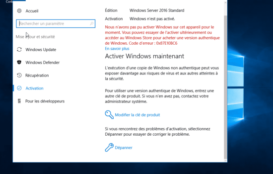 erreur Windows server 2016 activation