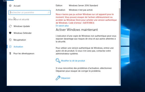 erreur Windows server 2016 activation