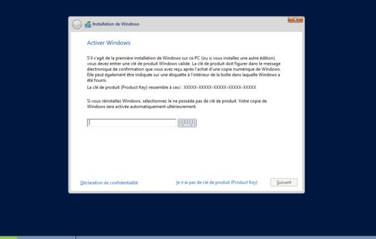 inséré clé de licence Windows server 2016 sans interface graphique