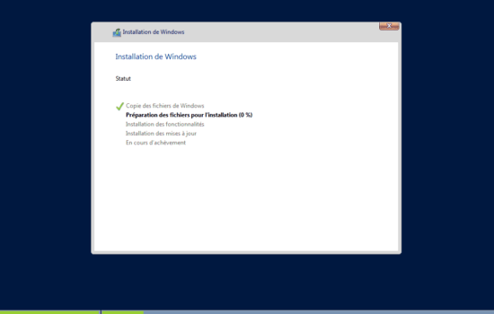 installation Windows server 2016 sans interface graphique