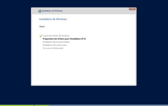 installation Windows server 2016 sans interface graphique