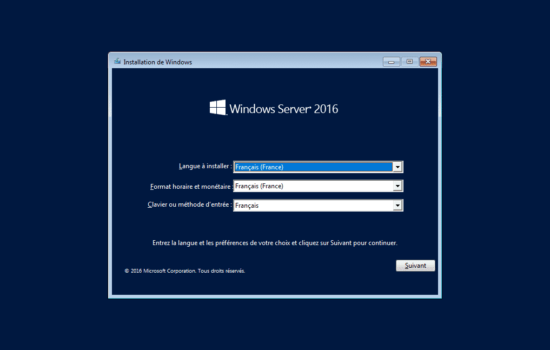 installation de Windows server 2016 sans interface graphique