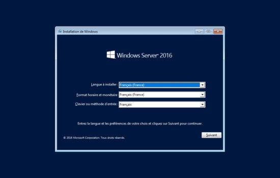 installation de Windows server 2016 sans interface graphique