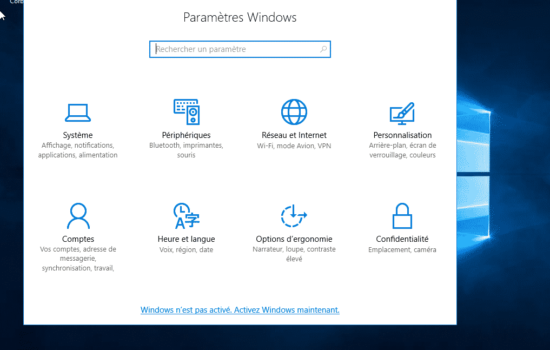 paramètre Windows server 2016 activation
