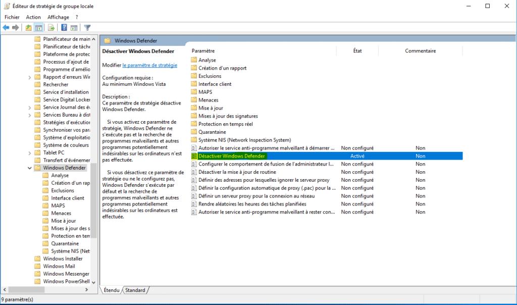 éditeur de stratégie de groupe locale pour Désactiver Windows defender