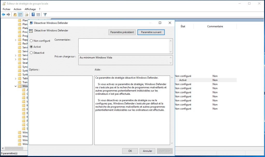 désactiver la ligne Windows defender