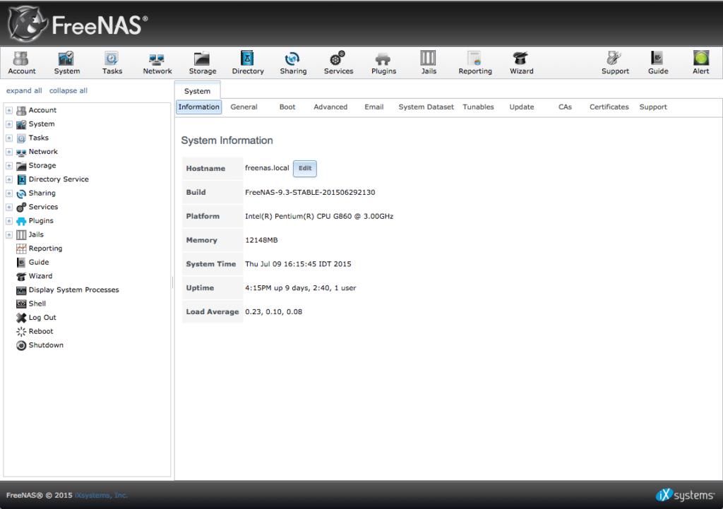 interface web Freenas