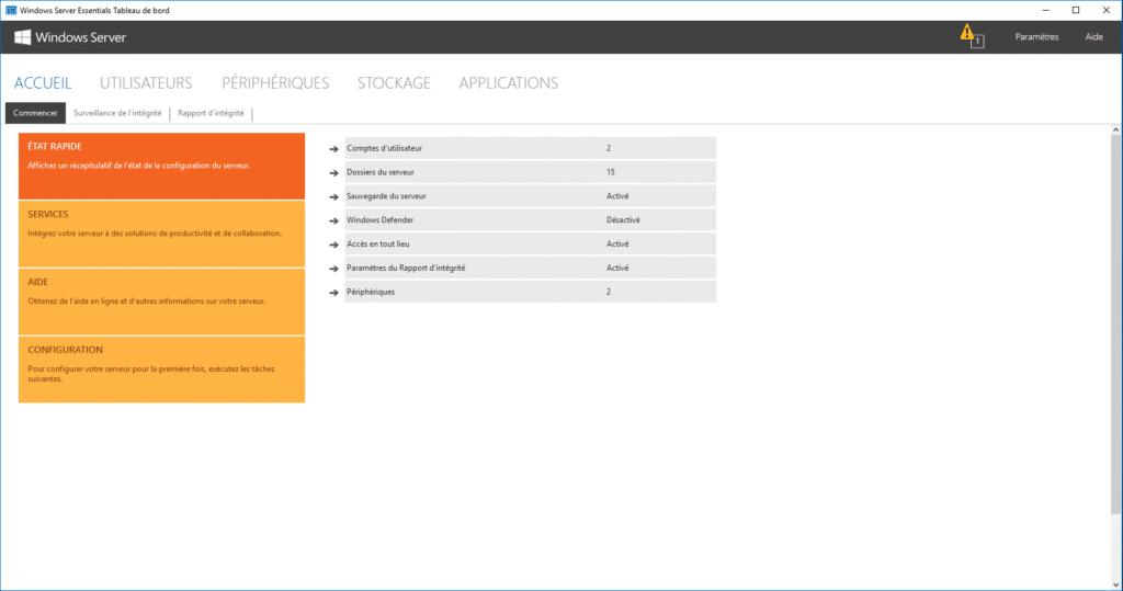 tableau de bord de Windows server essentials 2016
