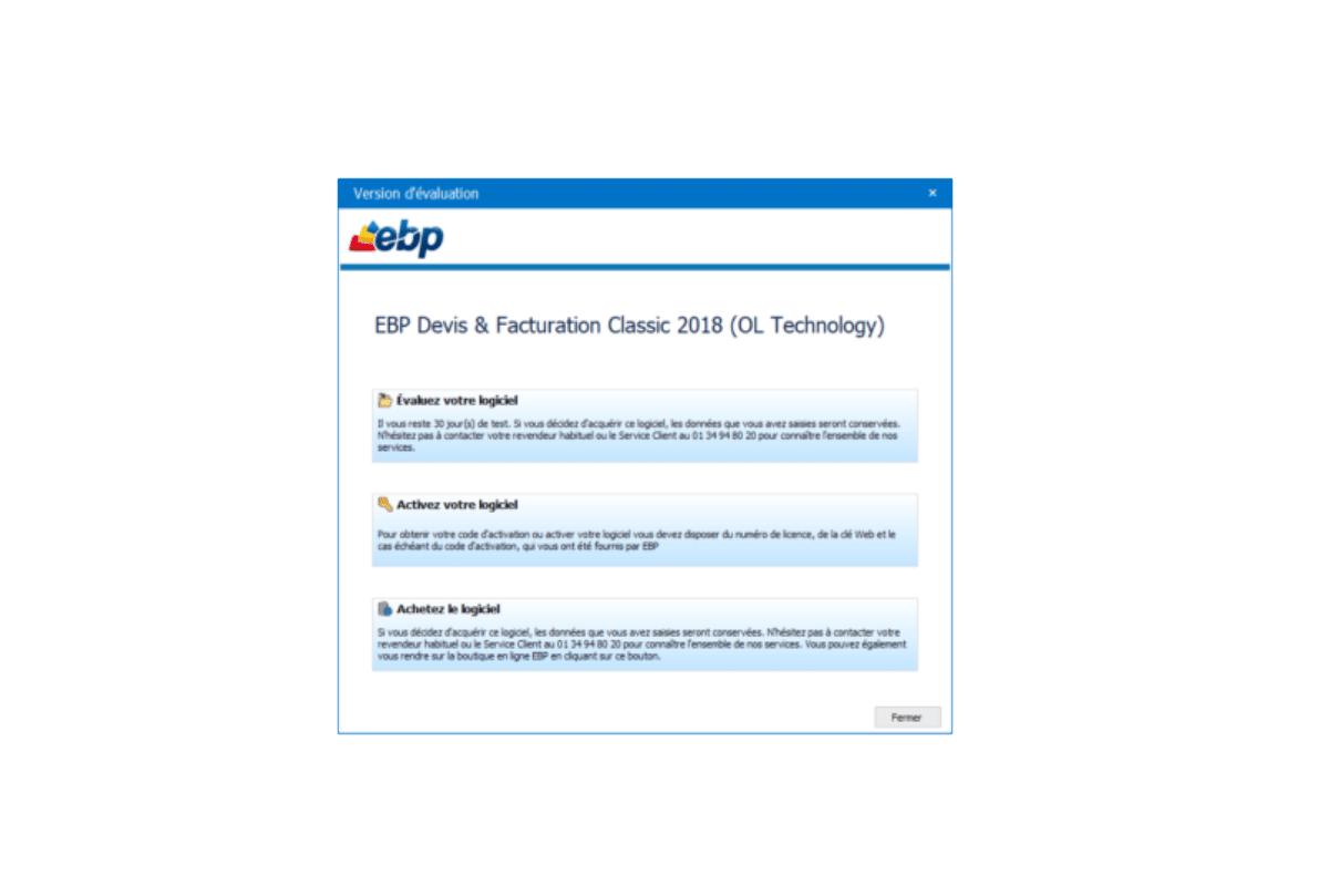 Activer ma licence de mon logiciel EBP