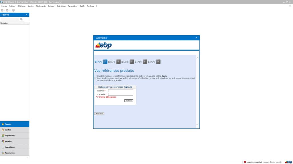 Activer votre clé de licence logiciel EBP