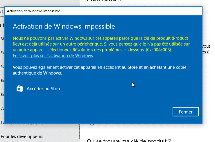 Réinitialiser l'activation de Windows