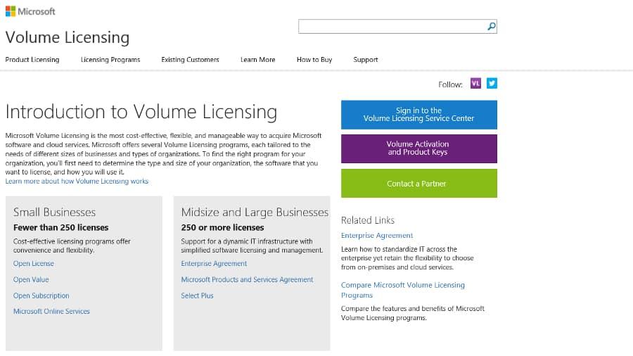licences Windows de type VOLUME