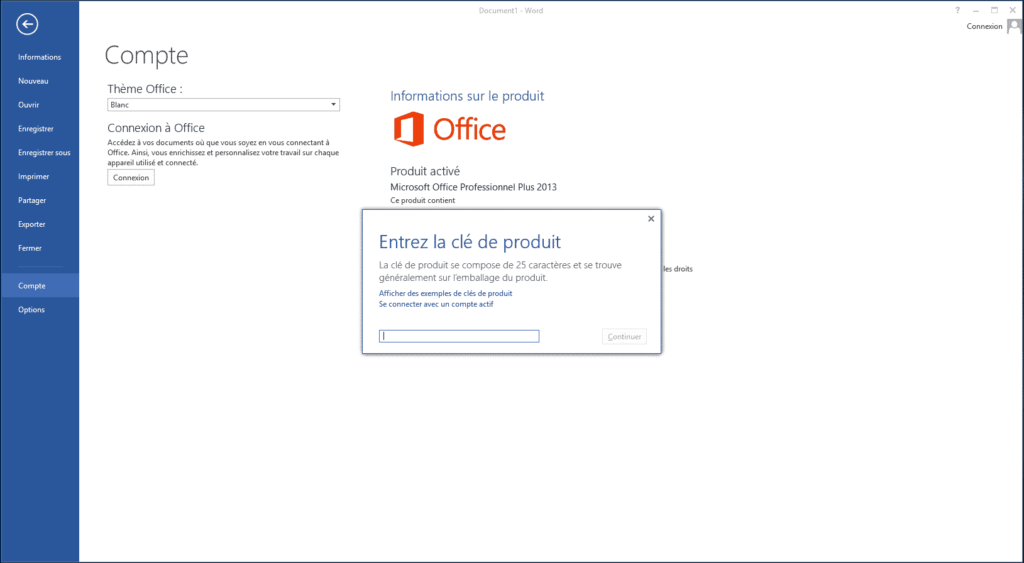 activation d'office 2016 standard