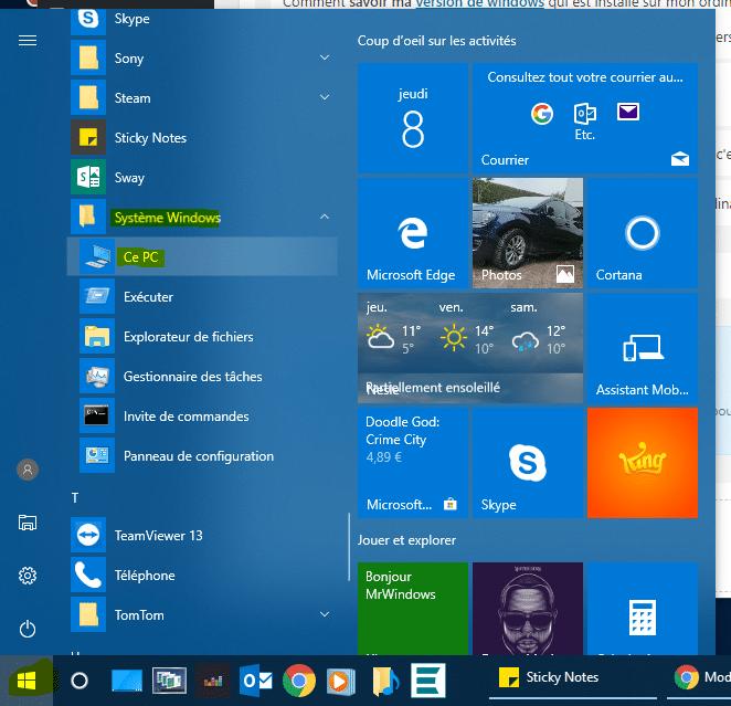 Comment savoir ma version de windows