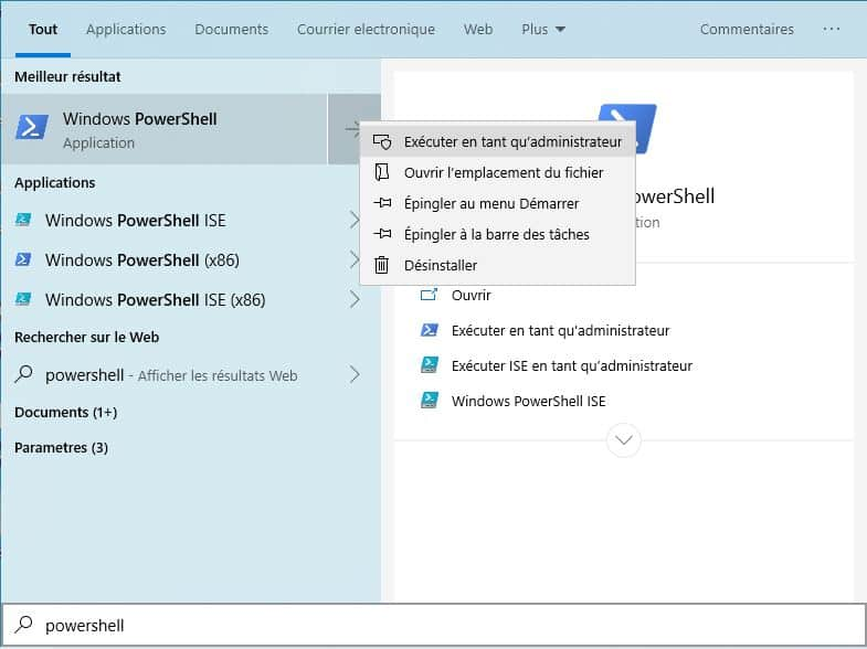 Comment ouvrir powershell