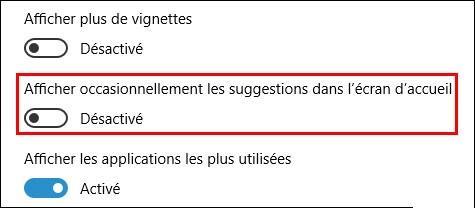 Comment désactiver la publicité du menu démarrer sur Windows10