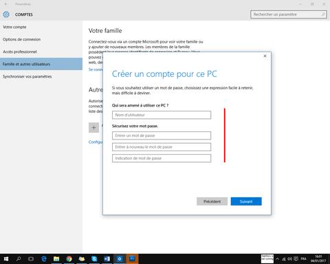 Comment créer un compte windows 10