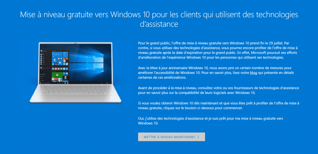 Obtenir gratuitement Windows 10