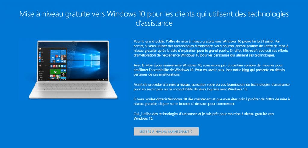 Obtenir gratuitement Windows 10