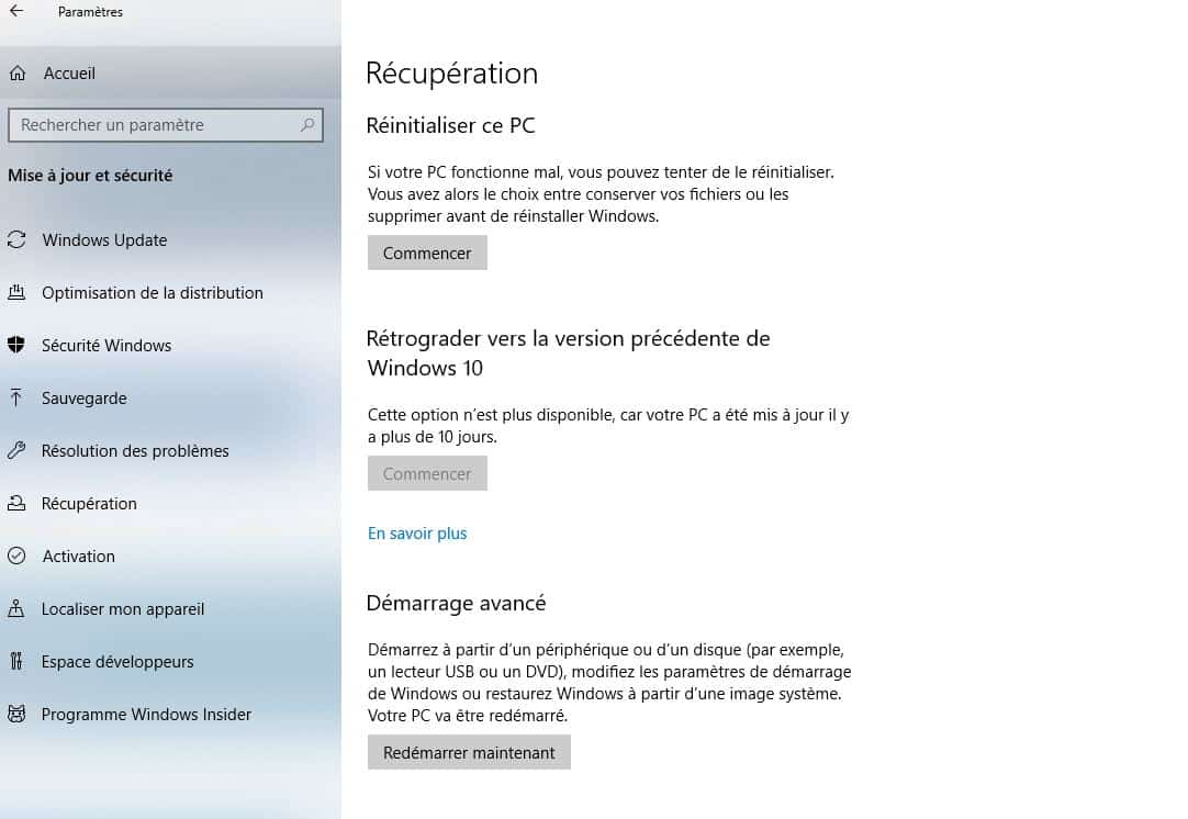 Réinitialiser Windows 10