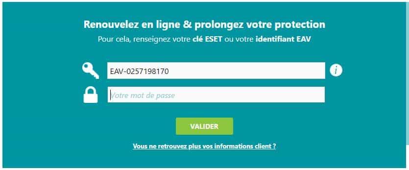 Renouveler ma clé de produit ESET sur la Boutique ESET avec nom d'utilisateur
