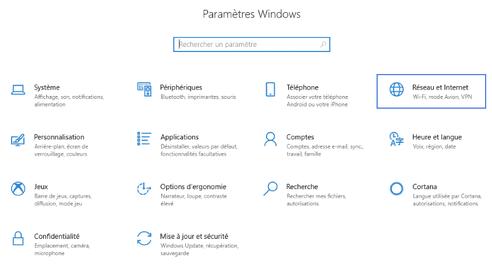 carte réseau sous Windows 10