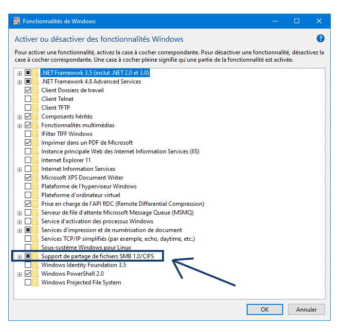 Activer fonctionnalités Windows smb 1.0 windows 10