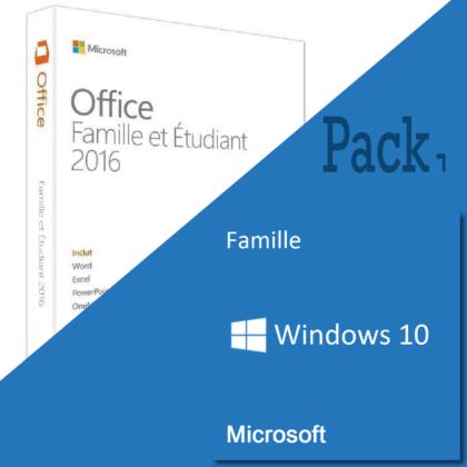 Pack Windows 10 Home + Office 2019 étudiant pas cher