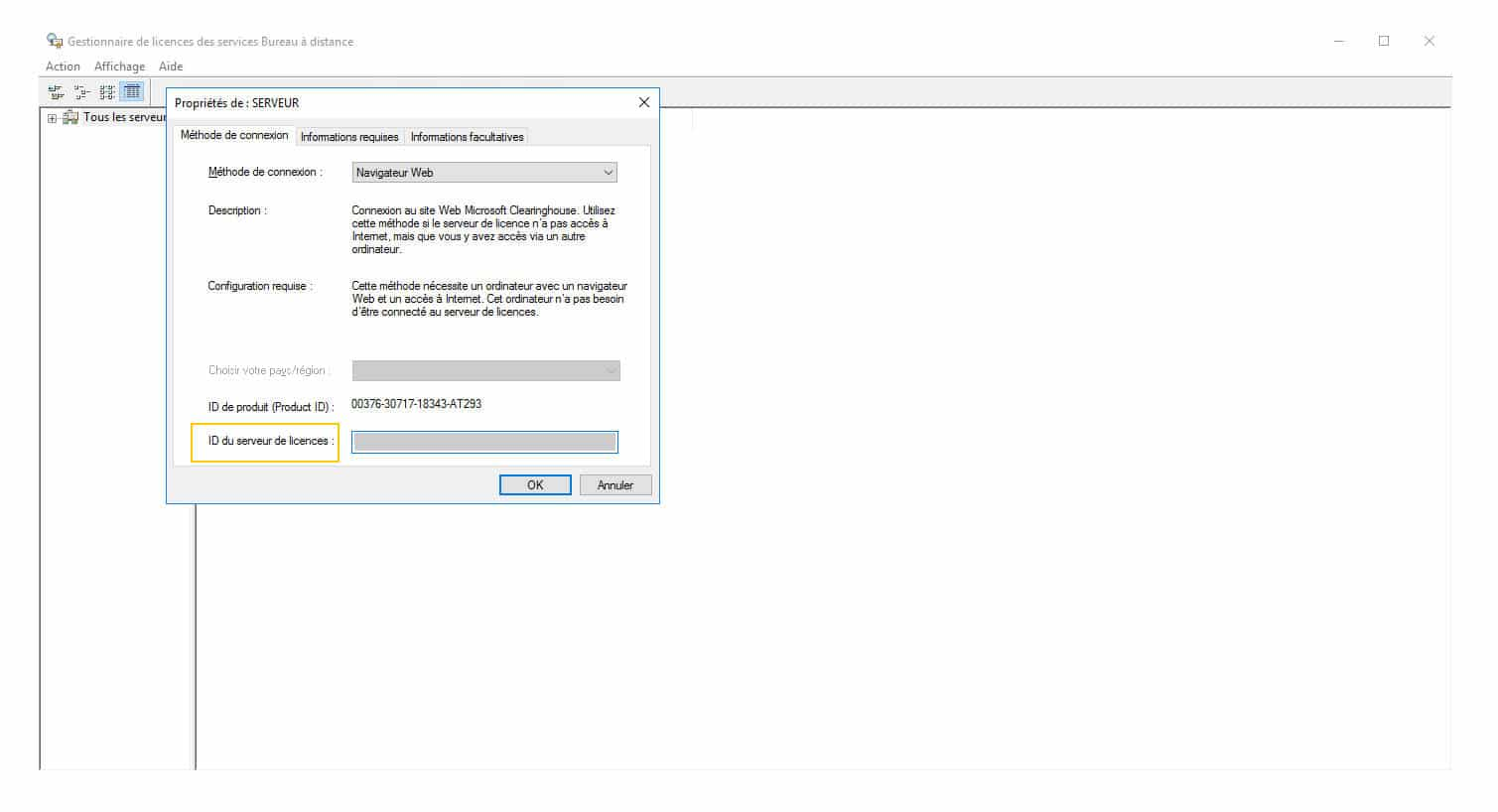 Comment trouver l'ID de Windows server CAL RDS TSE