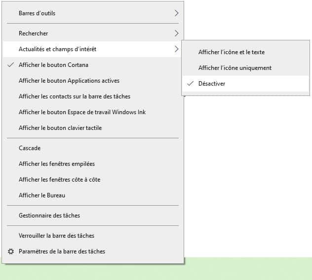 supprimer la météo Windows store sur la barre des tâches Windows 10