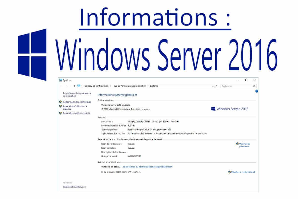 Informations sur les Windows server 2016