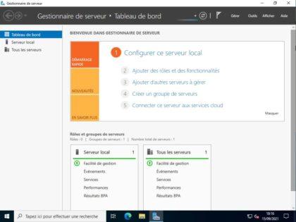 Gestionnaire de serveur de Windows Server 2022