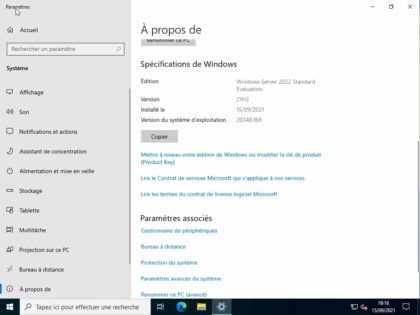 a propos de Microsoft Windows Server 2022