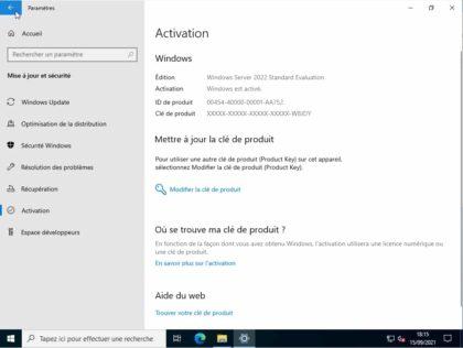 activation clé Microsoft Windows Server 2022 standard