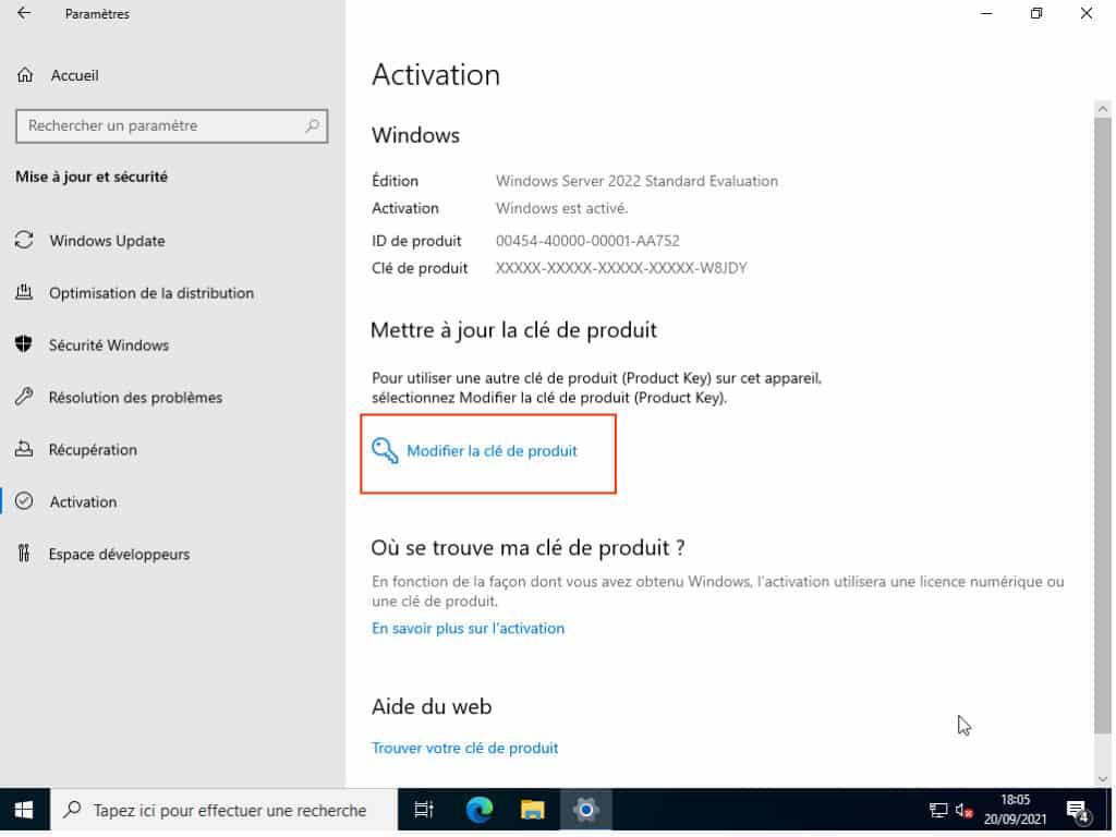 activation de Windows Server 2022 standard