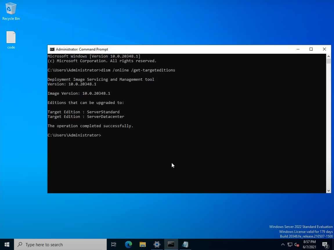 mettre à niveau la version d'éval vers commerciale Windows server 2022