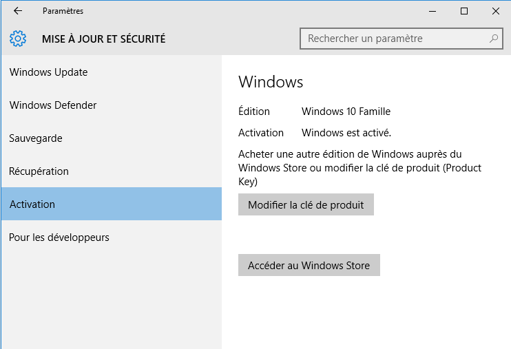 Activation de Windows 10