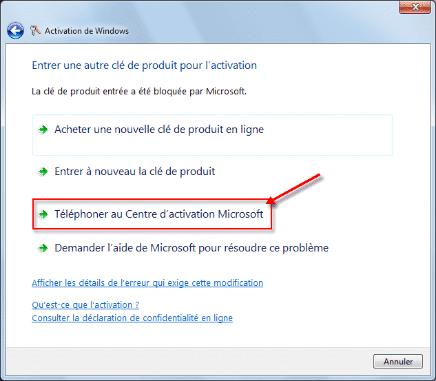 Activation de Windows 7