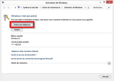 Activation de Windows 8
