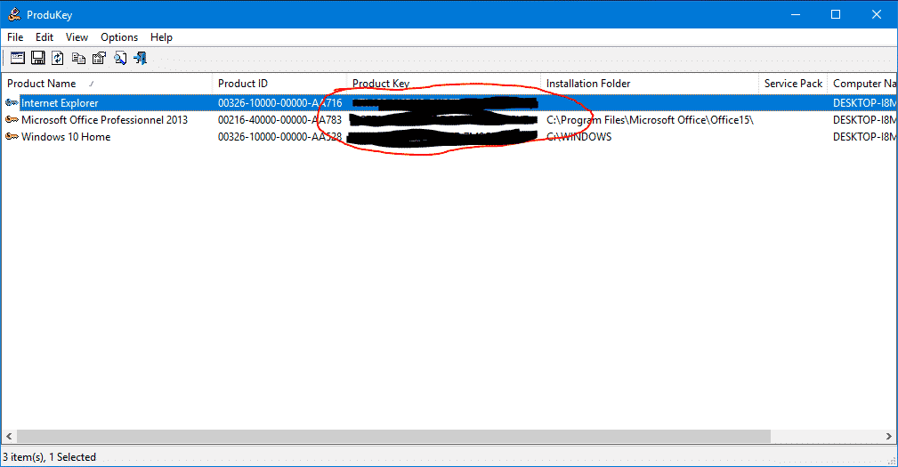comment une obtenir clé windows