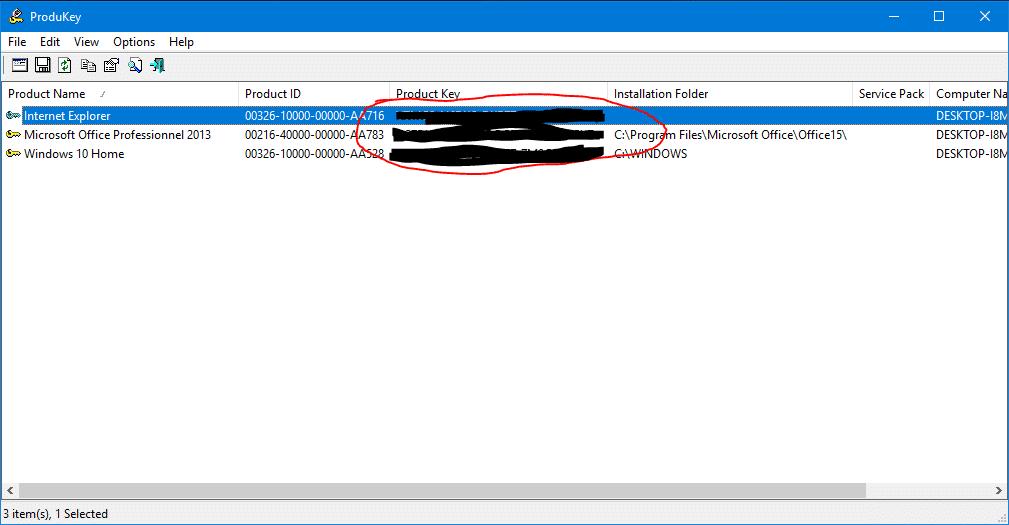 comment une obtenir clé windows
